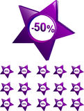 Price off. Violet collage of price off icons ranged from -10 precent to 90 percent and one icon of free Royalty Free Stock Photo