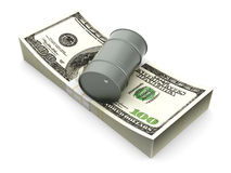 Price of Oil. A oil barrell with Dollar notes. 3D rendered Illustration vector illustration