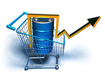 Price of oil going up. 3d generated Royalty Free Stock Image