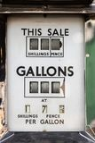 The price of petrol. Vintage car fuel meter priced in shillings. The price of petrol. Vintage car fuel pump meter with gallons priced in shillings and pence stock image