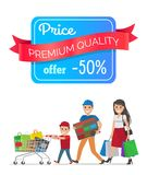 Price Premium Quality Offer Low Cost Special Offer. Price premium quality offer 50 low cost special offer discount promo poster people shopping. Parents and boy Stock Photography
