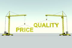 Price quality building concept. Crane white background 3d illustration Stock Photography