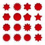 Price red star burst shapes. Price star burst shapes. Vector red bursting stars symbols isolated on white background, circle star badges or vector sunburst royalty free illustration