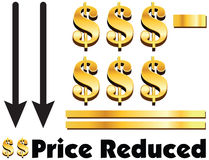 Price Reduced concept of dollar minus dollar is equal to price r. Educed. Vector illustration of text price reduced inside. Golden dollar with arrow down to Stock Image