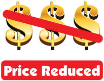 Price Reduced concept of dollar minus dollar is equal to price r Stock Photography
