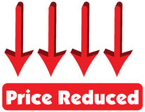 Price Reduced concept of red arrow pointing down is equal to pri Stock Photography