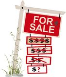 Price reduced sign. `For sale` sign with multiple tags showing a reduced price, EPS 8 vector illustration, isolated stock illustration
