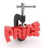 Price reduction. Price word in clamp. Price reduction concept Royalty Free Stock Photo