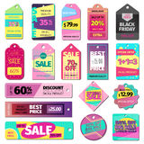 Price sale clothes tag modern pattern price card stickers collection paper blank business promotion badge vector Stock Image