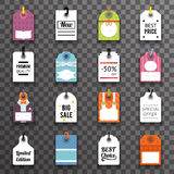 Price Sale Text Tag Symbol Labels Icons Set Transperent Background Template Vector Illustration royalty free illustration