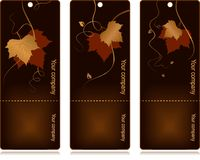 Price, sales tags on dark background. 3 elegant tags with red golden autumn leaves and swirls on dark background. Use of blends, linear gradients, global colors Stock Image