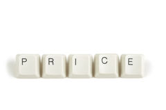 Price from scattered keyboard keys on white. Price text from scattered keyboard keys isolated on white background stock image