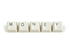 Price from scattered keyboard keys on white Stock Photos