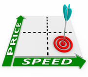 Price Speed Matrix - Arrow and Target. Cheap and fast rules the day on this price-speed matrix with arrow and target Stock Photos