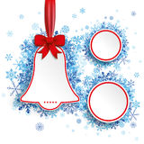 Price Sticker Bell Circles Red Ribbon Blue Snowlakes Stock Images