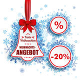 Price Sticker Bell Red Ribbon Blue Snowflakes. German text Frohe Weihnachten, Weihnachtsangebot, translate Merry Christmas, Christmas Sale. Eps 10 vector file Stock Images