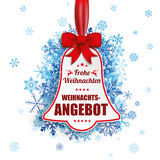 Price Sticker Bell Red Ribbon Blue Snowflakes Weihnachtsangebot Stock Photography