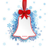 Price Sticker Bell Red Ribbon Blue Snowflakes Royalty Free Stock Image