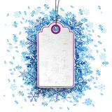 Price Sticker Blue Snowflakes Percents Stock Photography