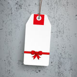 Price Sticker Christmas Red Ribbon Concrete Royalty Free Stock Photography