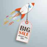Price Sticker Rocket. Sale rocket with price sticker on the silver background Royalty Free Stock Images