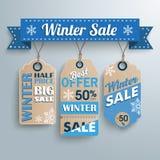 3 Price Sticker Winter Sale Ribbon. Ribbon with price stickers for winter sale Stock Photo