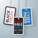 3 price stickers black friday cyber monday. 3 price stickers for black monday and cyber monday Royalty Free Stock Photo