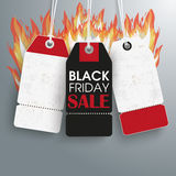 3 Price Stickers Black Friday Sale Fire. 3 black friday price stickers the gray background Royalty Free Stock Photo