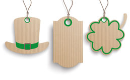 3 Price Stickers Hat Shamrock St Patrick. 3 cardboard hanging price stickers for St. Patrick's Day on the white background Royalty Free Stock Photography