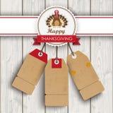 3 Price Stickers Turkey Thanksgiving Emblem. 3 price stickers with thanksgiving emblem, turkey on wooden background Stock Image