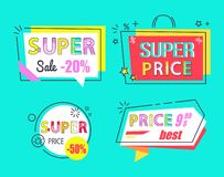 Price 9.99 Super Sale Best Price 50 Off Set Labels. Price 9.99 super sale best offer 50 off set of promo labels, colorful badges in flat style. Wholesale emblems vector illustration