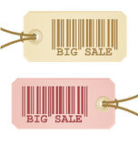 Price tag with barcode. Two price tag with barcode royalty free illustration