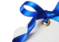 Price Tag with Blue Ribbon Stock Photos