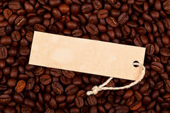 Price tag on coffe beans Stock Image