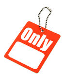 Price tag with copy space isolated on white Stock Images