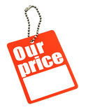 Price tag with copy space isolated on white Stock Image