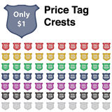 Price Tag Crest Icon Set Royalty Free Stock Photos