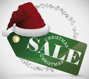 Price Tag with Santa`s Hat for Christmas Sale Season, Vector Illustration royalty free illustration