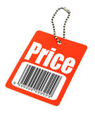Price tag with fake bar code. Close-up of a price tag with fake bar code on white, photo does not infringe any copyright royalty free stock photography