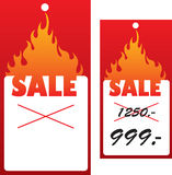 Price tag with flame. Royalty Free Stock Photos