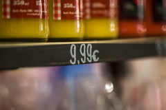 The price tag on fruit counter Stock Image