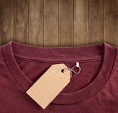 Price tag hang over tshirt stock photography