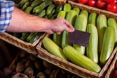 Price tag installation on vegetable marrow. Royalty Free Stock Photos