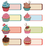 Price tag label with a cupcake. Write the text on top. Stock Photos