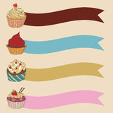 Price tag label with a cupcake. Write the text on top. Stock Images
