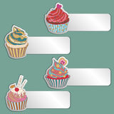 Price tag label with a cupcake. Write the text on top. Royalty Free Stock Images