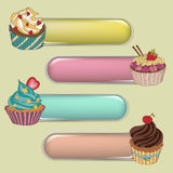 Price tag label with a cupcake. Write the text on top. The price tag label with a cupcake. Write the text at the top. Set of different cupcakes Stock Image