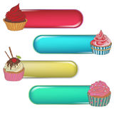 Price tag label with a cupcake. Write the text on top. Royalty Free Stock Photo