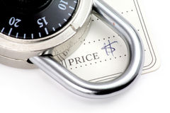 Price tag and lock. The concept of locked price royalty free stock image