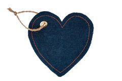 Price tag made of denim in the form of heart Royalty Free Stock Photos